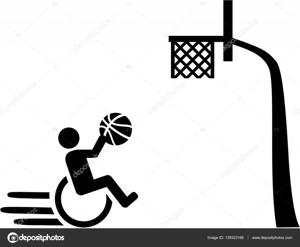 Baloncesto Silla De Ruedas Con Pictograma De Cesta