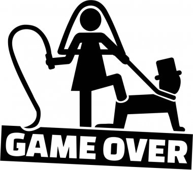 Wedding couple - game over for the man stock vector