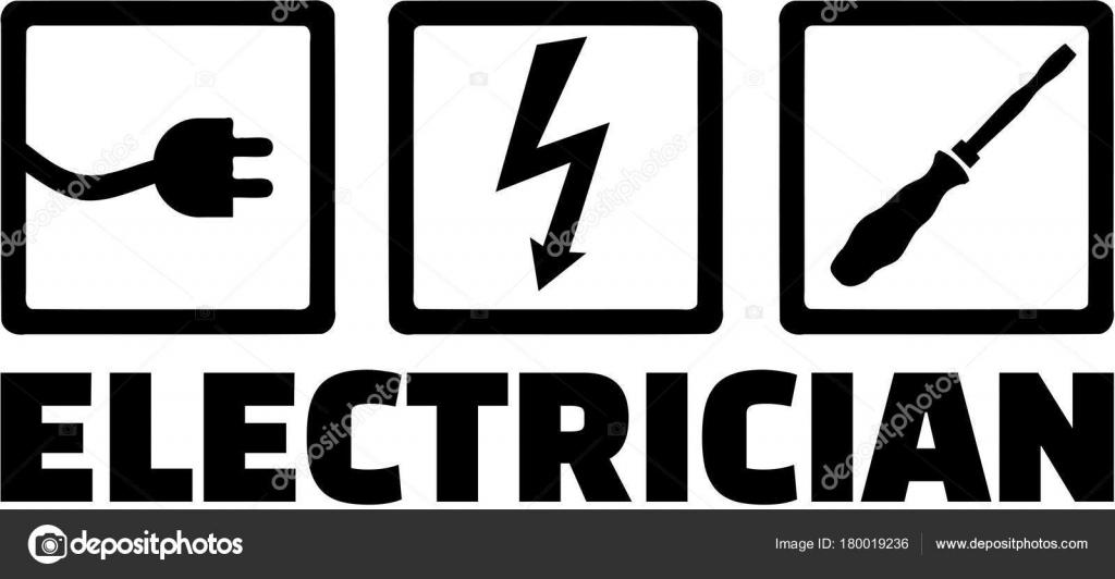 Elektriker mit Ikonen Stecker, Schrauben und Schraubendreher ...