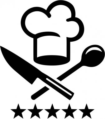 Chef hat with crossed knife and wooden spoon