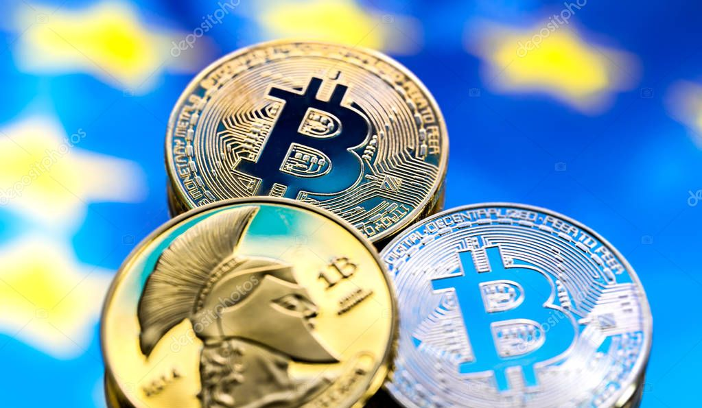 coins Bitcoin, against the backdrop of Europe and the European f