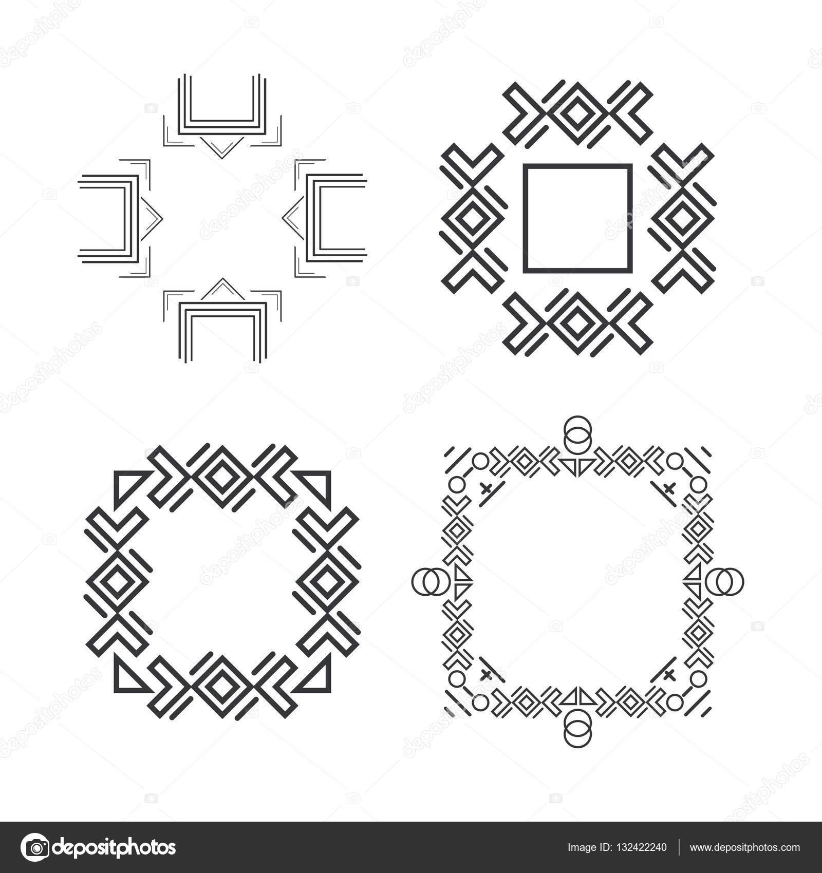 Set of trendy geometric shapes hipster frames collection stock set of trendy geometric shapes hipster frames collection stock vector jeuxipadfo Images