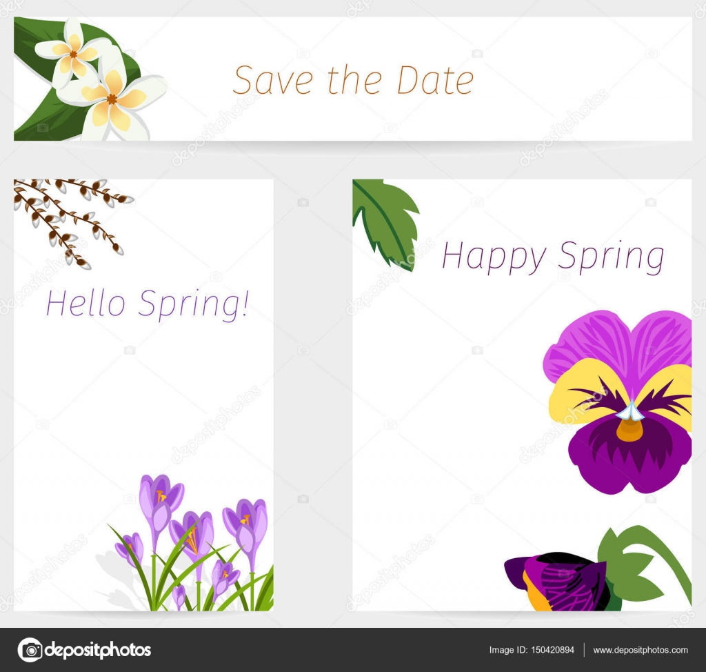 Wedding or birthday invitation spring flower celebration card vector ...