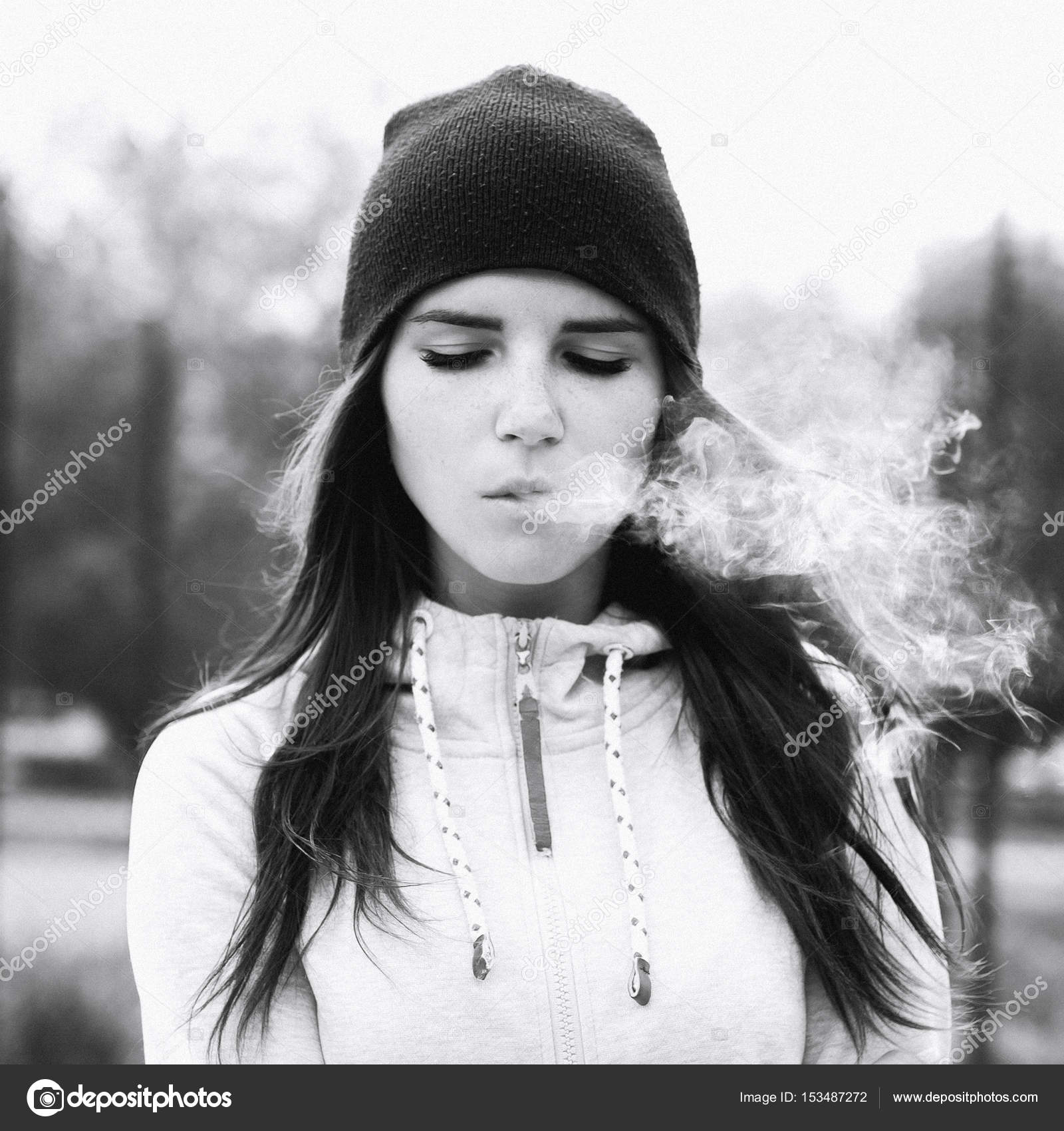 Girls smoking cigarettes