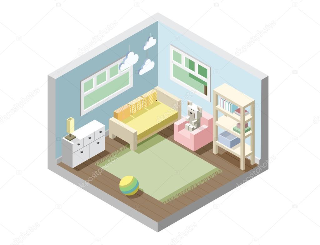 Vivero isométrica de Vector, sala infantil, conjunto de muebles ...
