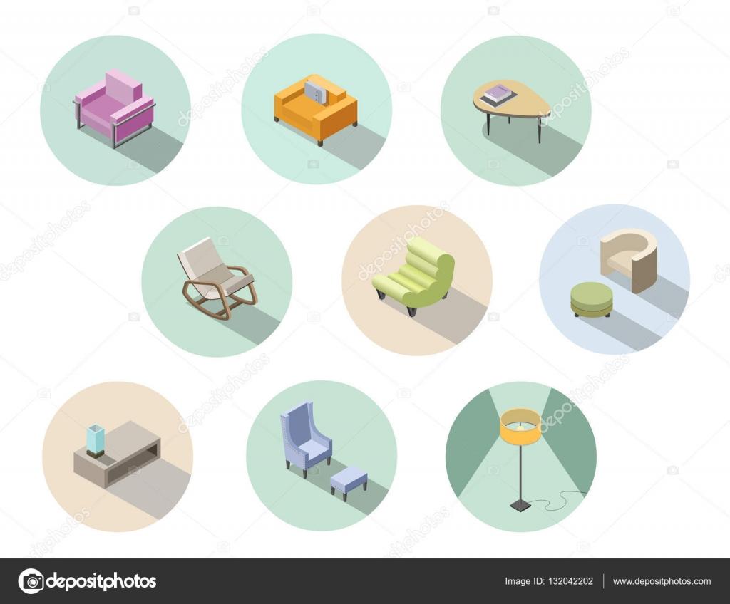 Vektor, isometrische set von modernen Wohnzimmermöbel, home ...