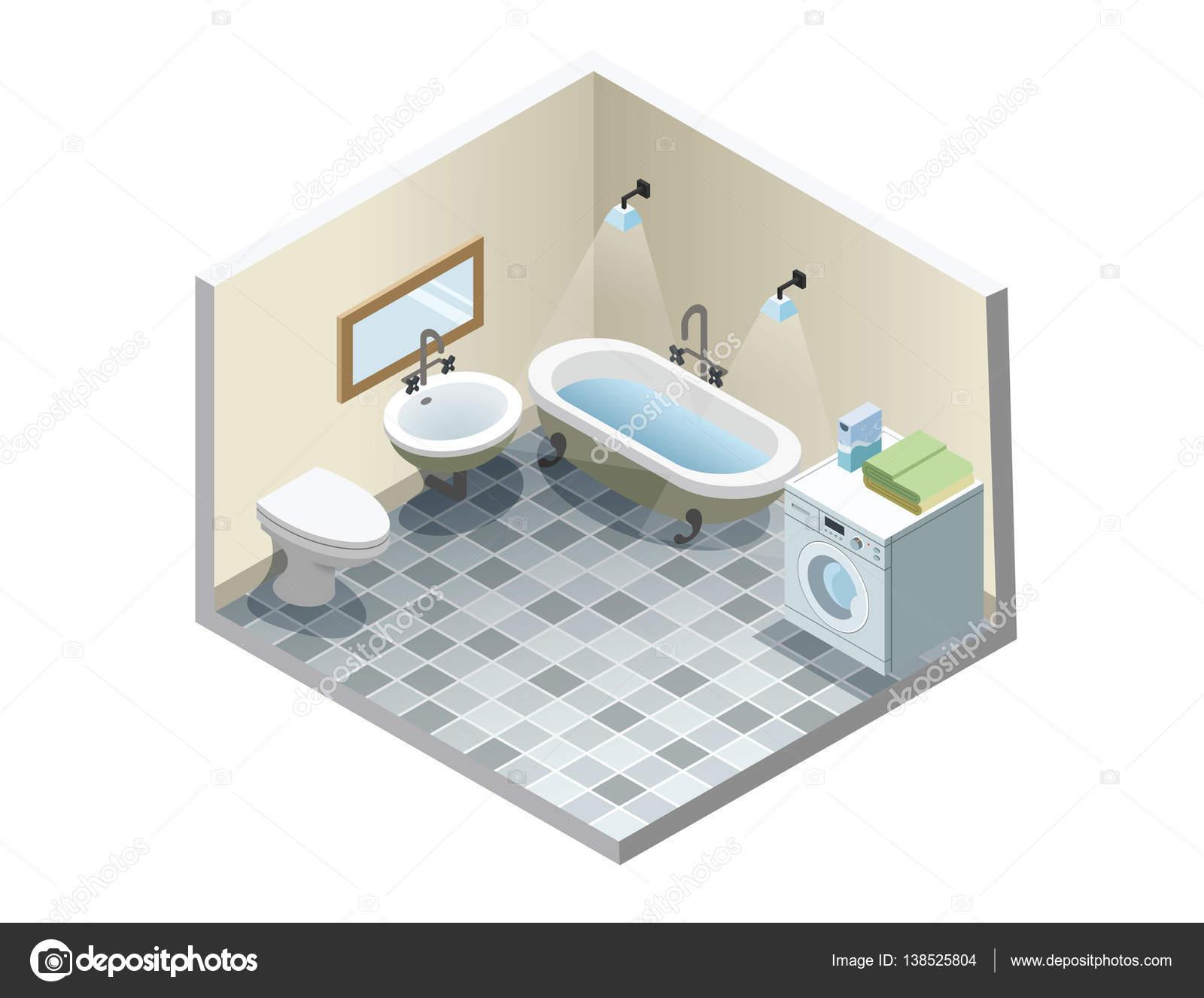 Isometrica bagno vettore set di icone mobili bagno vintage retrò