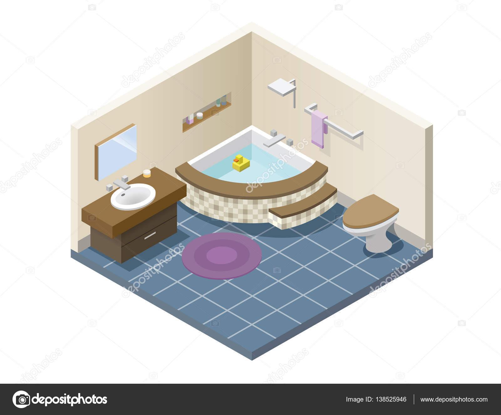 Vector isometrische moderne badkamer set van bad meubels