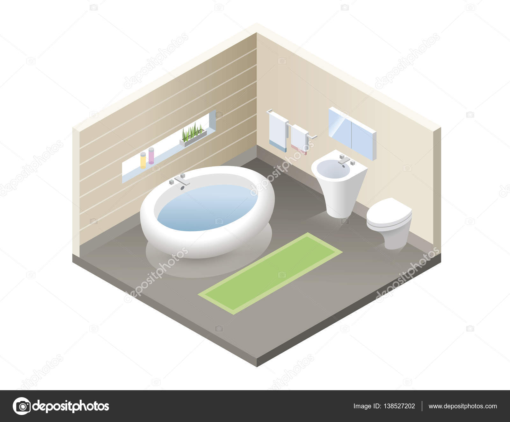 Isometrica bagno vettore set di icone di arredo bagno moderno