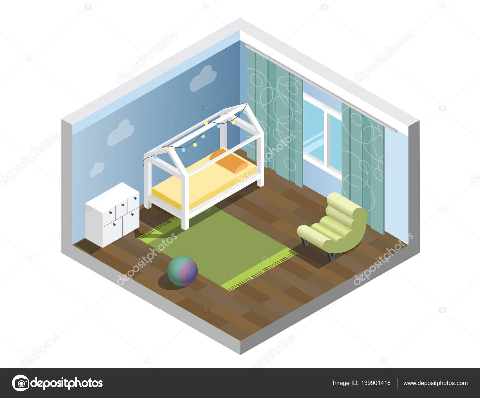 Vivero isométrica de Vector, sala infantil, conjunto de muebles de ...