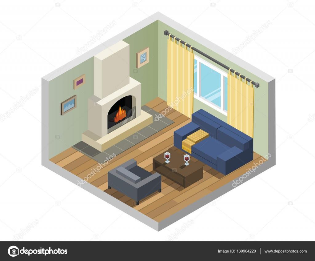 Sistema isomtrico vector de muebles de sala con chimenea Archivo