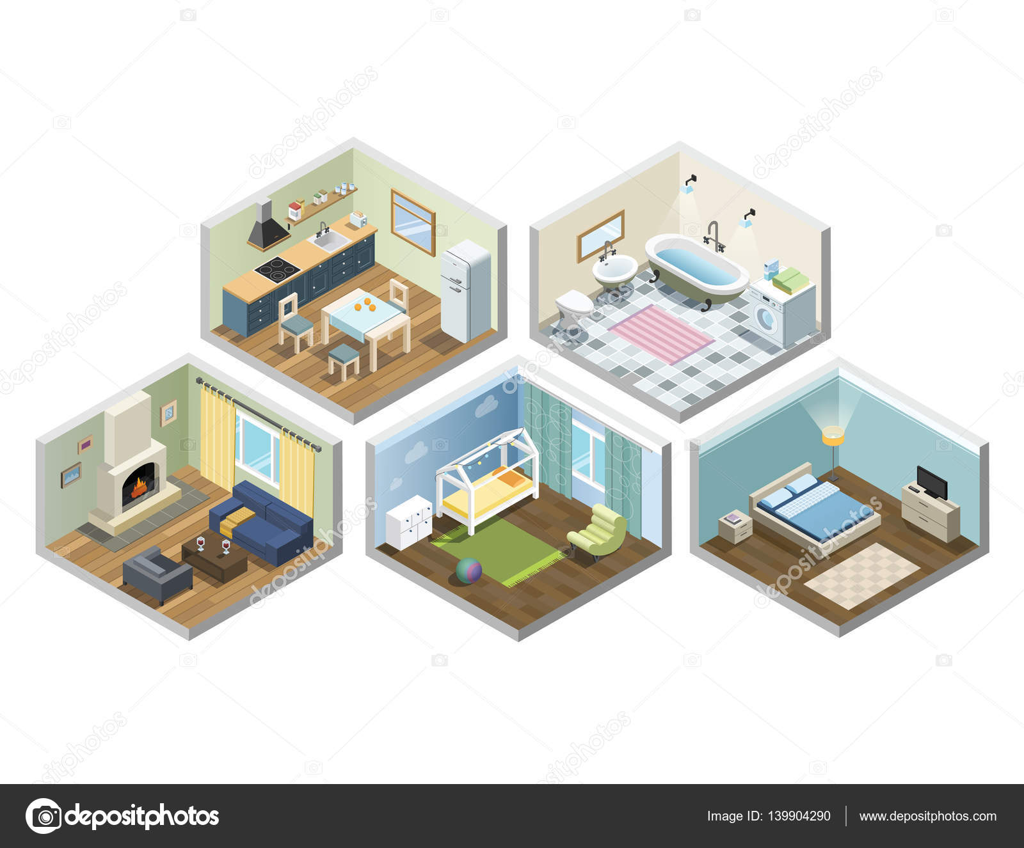 Vektor, isometrische saß von Haus oder Wohnung Möbel, verschiedene ...