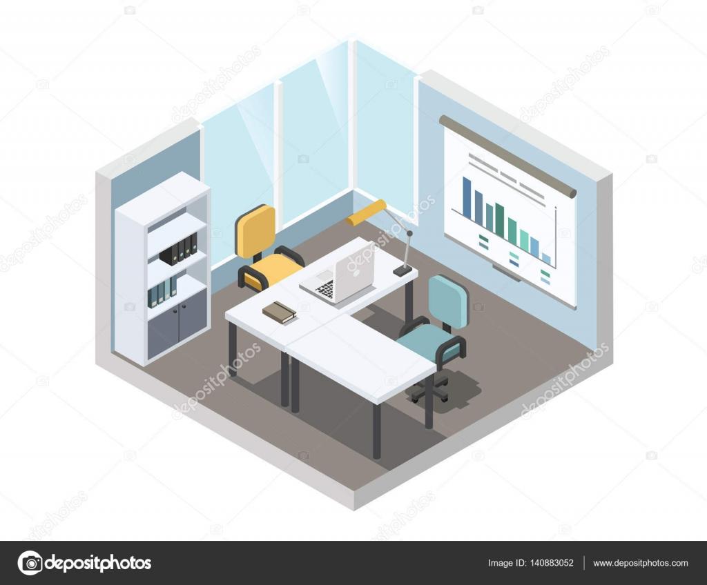 Ilustraci n isom trica de vector de lugar de trabajo de - Trabajo de diseno de interiores ...