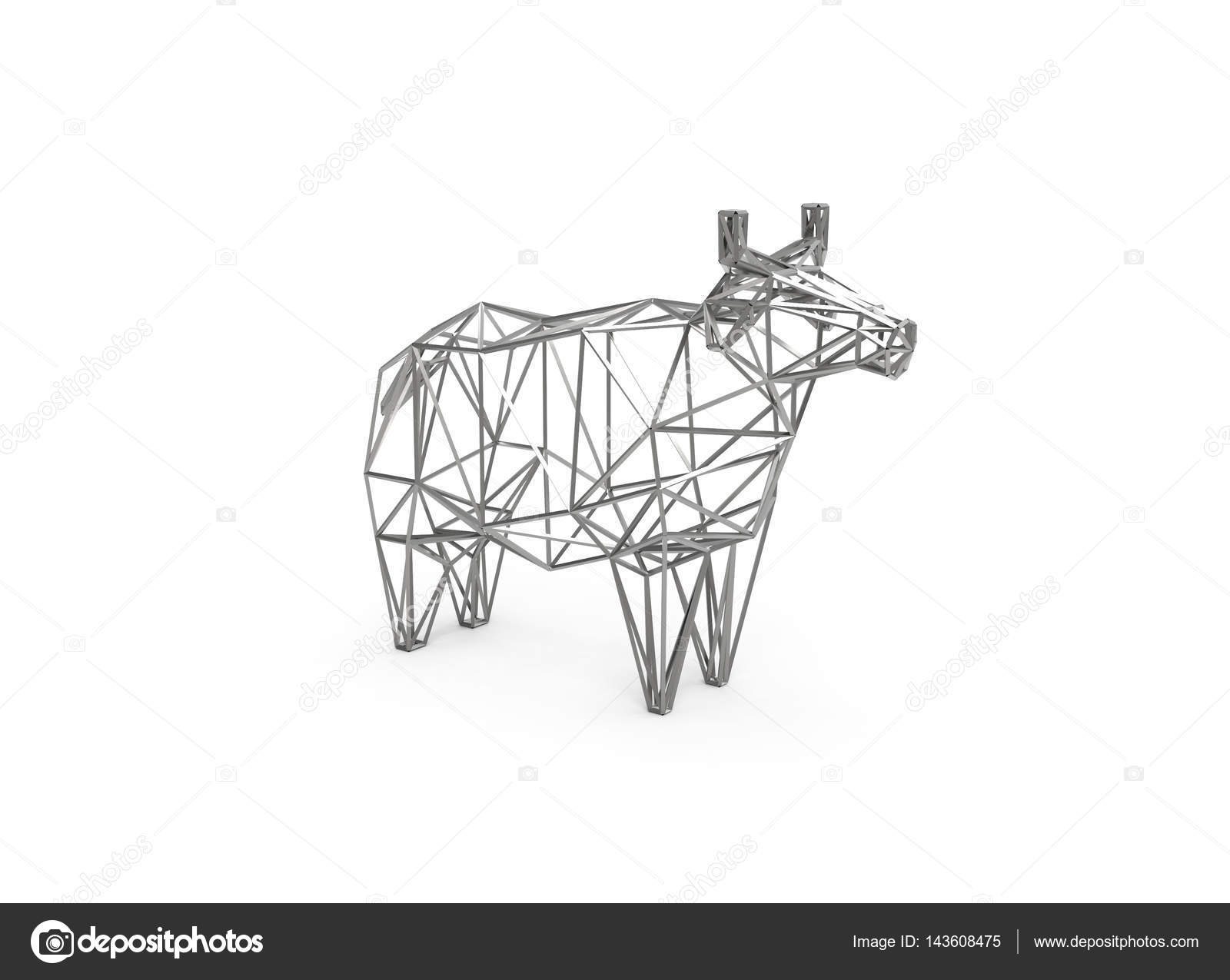 3D polygonal illustration of cow made of wire figure — Stock Photo ...
