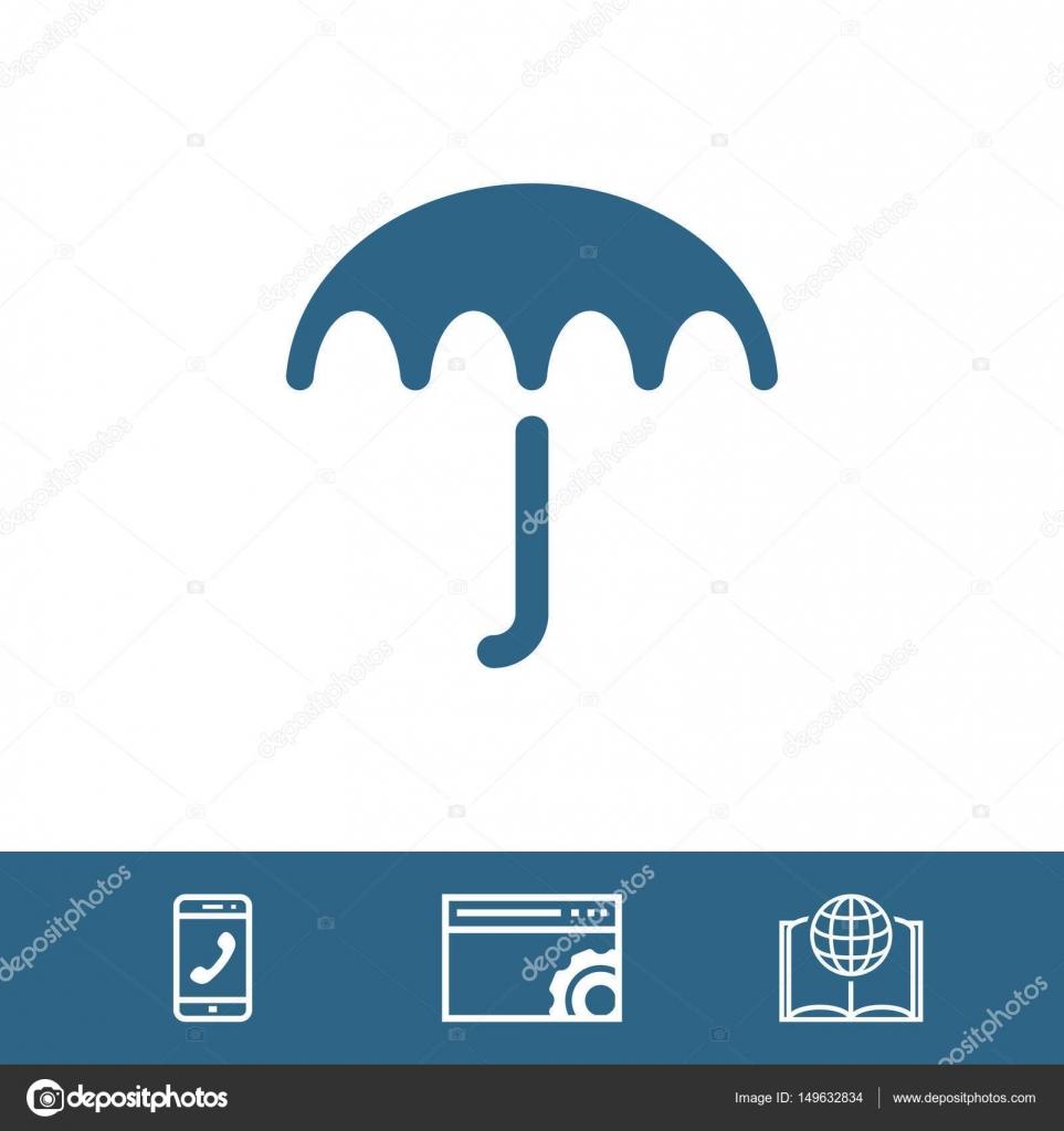 Umbrella Vector Icon Rain Protection Symbol Flat Design Style