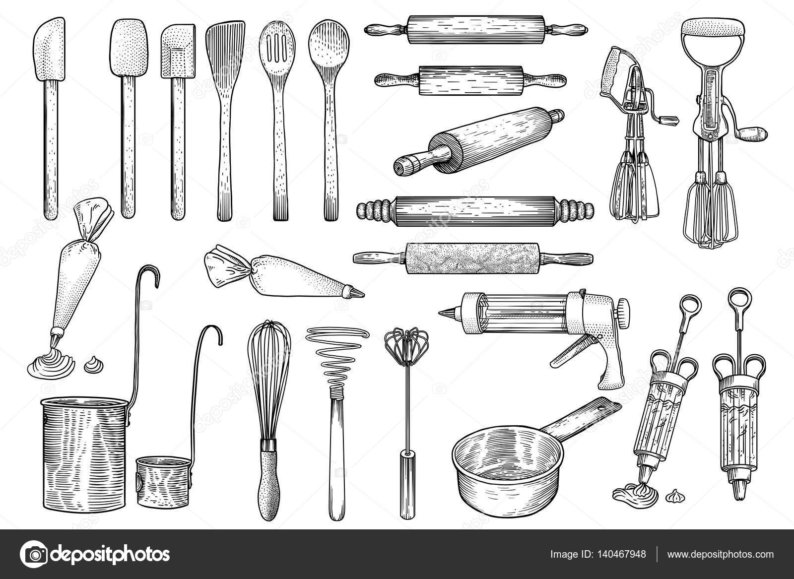 Kitchen tool utensil vector drawing engraving for Kitchen set drawing