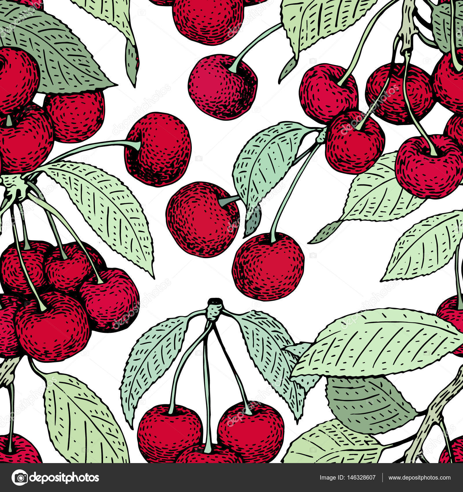 Vector Cherry Seamless Pattern Background Fabric Design Wrapping Paper Cover Retro Hand Drawn Illustration By Chipurkolubovrambler