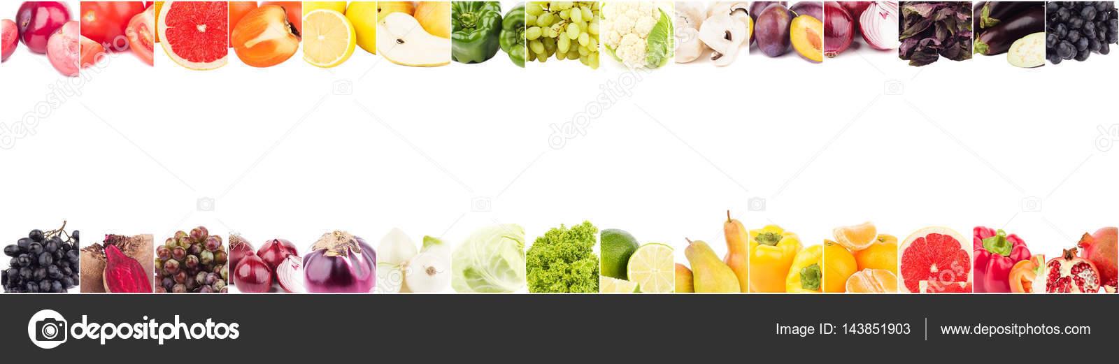 Wiersze Z Różnych Kolorowych Warzyw I Owoców Na Białym Tle
