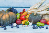 Pumpkin, maize and different ripe vegetables