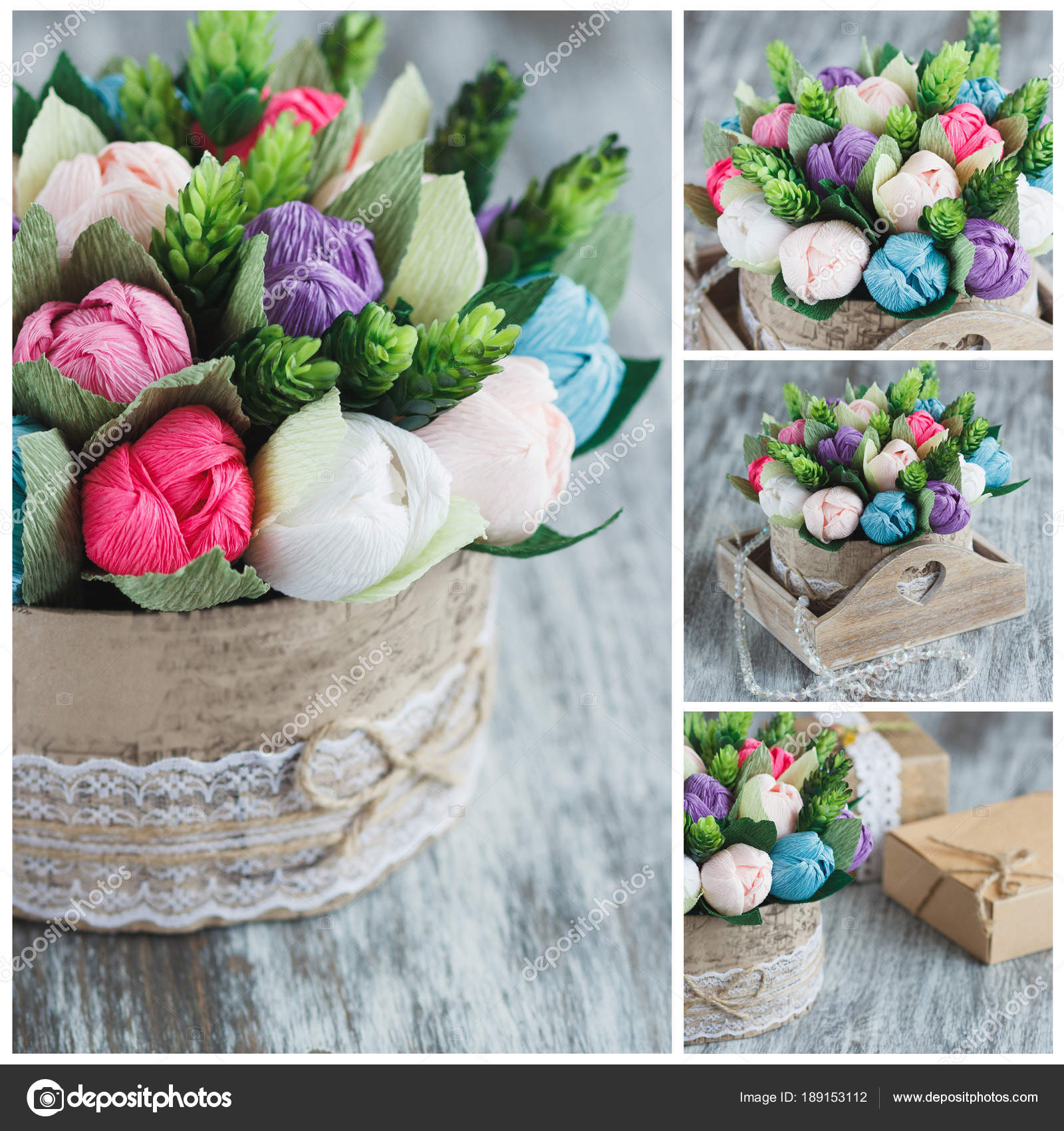 Bouquet from colored paper flowers and decorations stock photo bouquet from colored paper flowers and decorations stock photo mightylinksfo