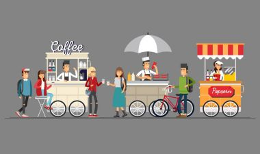 Creative detailed vector street coffee cart, popcorn and hotdog shop with sellers. Young people buy street food or junk food in food festival event. stock vector