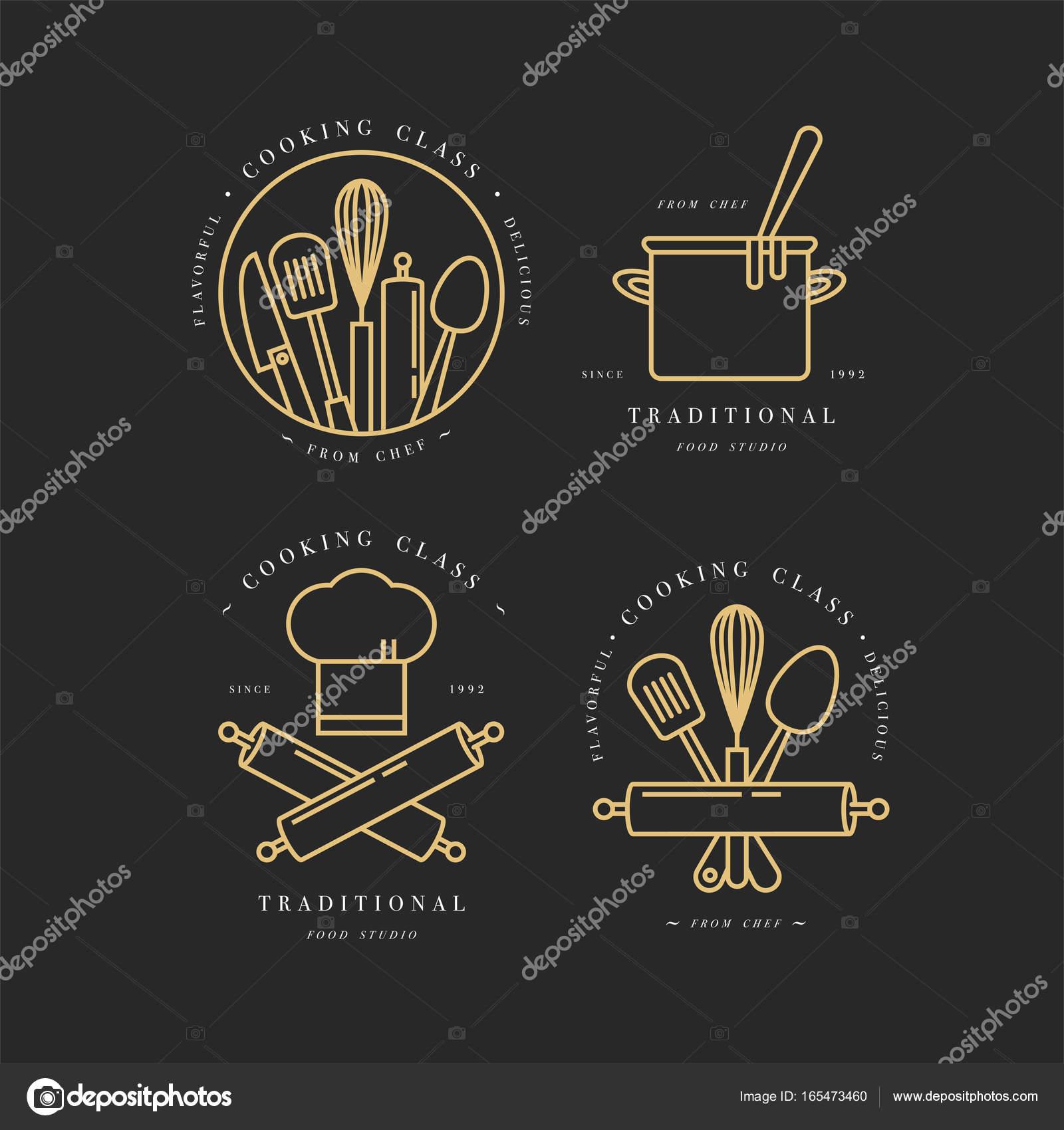 Etiketten und Abzeichen Sammlung kochen Klasse lineare ...