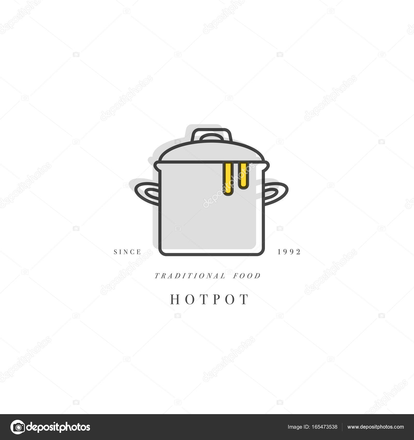 Cooking class linear design element kitchen emblem symbol icon cooking class linear design element kitchen emblem symbol icon or food cooking label hotpot icon pan vector by oxygen8 ccuart Image collections
