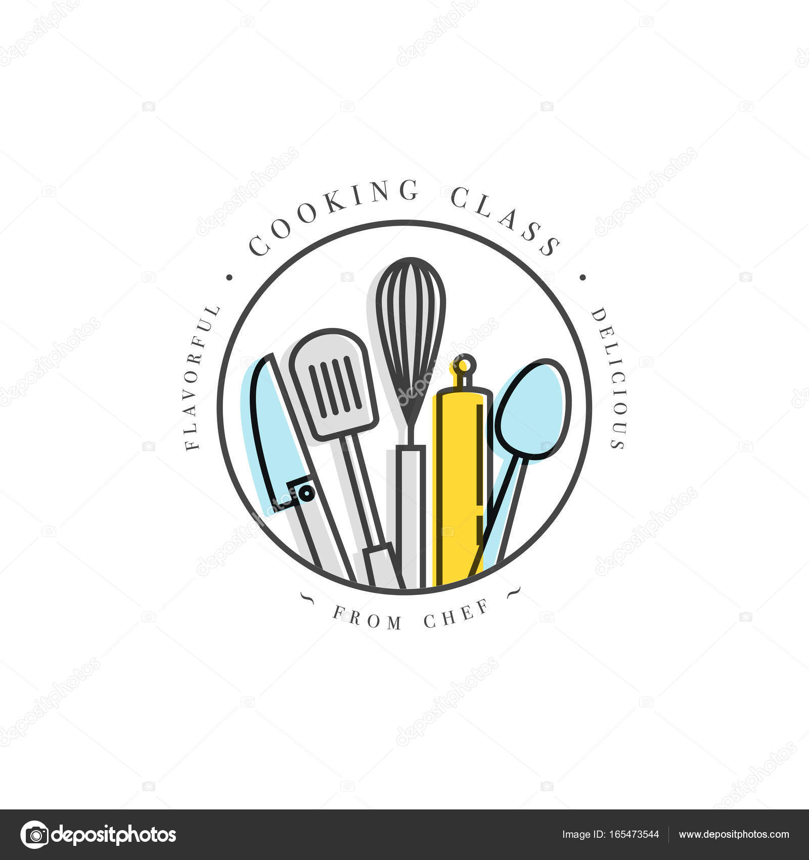 Cooking class linear design elements kitchen emblems symbols cooking class linear design element kitchen emblem symbol icon or food studio label cooking courses sign template or logo identity culinary school ccuart Image collections