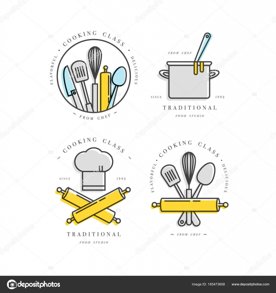Cooking class linear design elements kitchen emblems symbols cooking class linear design elements set of kitchen emblems symbols icons or food studio labels and badges collection cooking courses signs template or buycottarizona Choice Image