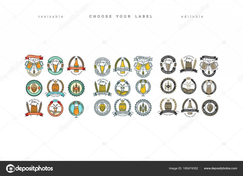 Satz von linearen gelbe Brauerei Logos. Etiketten mit Flaschen und ...