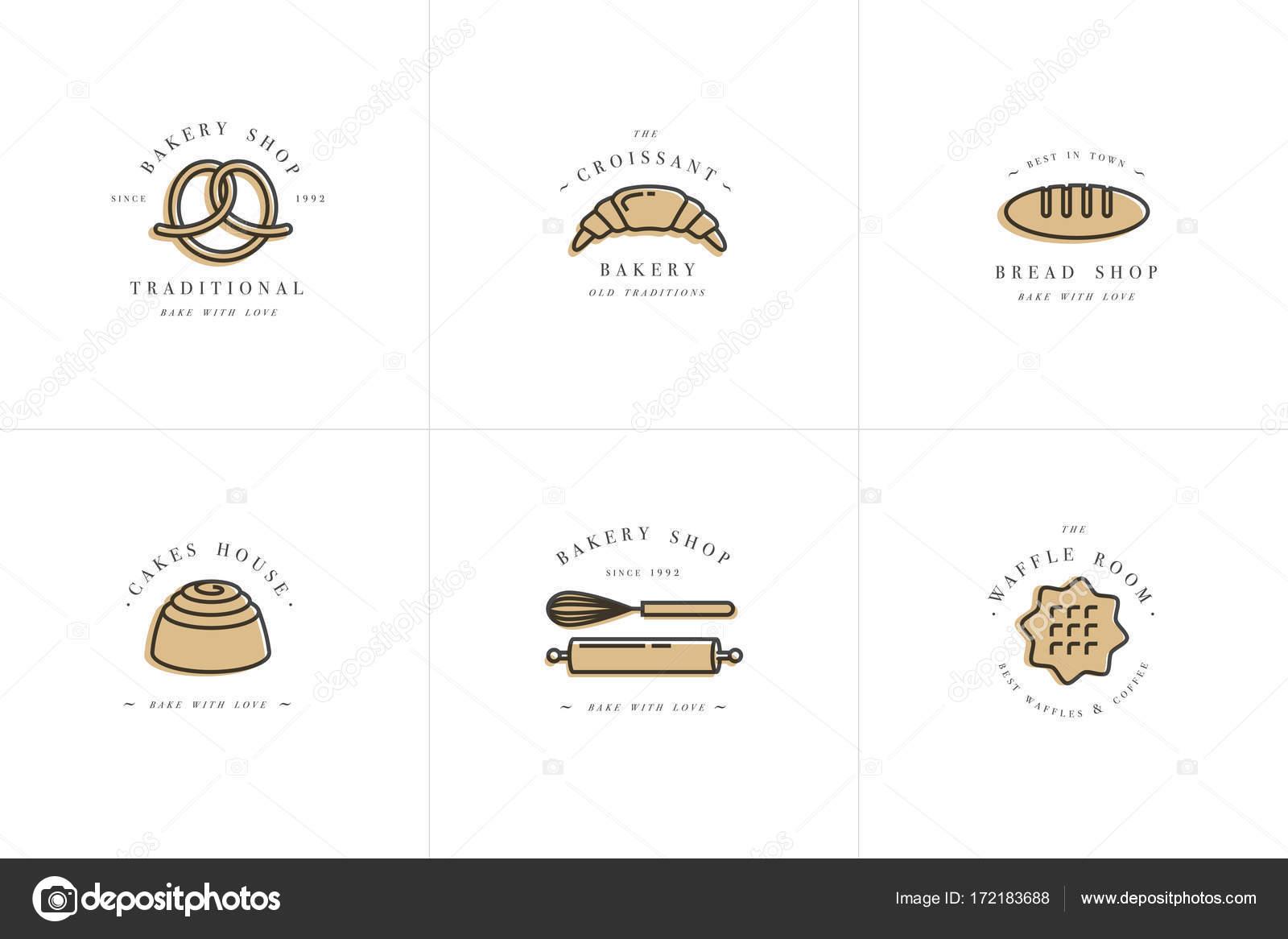 Plantillas de diseño vectorial y emblemas - cupcake, donut y ...