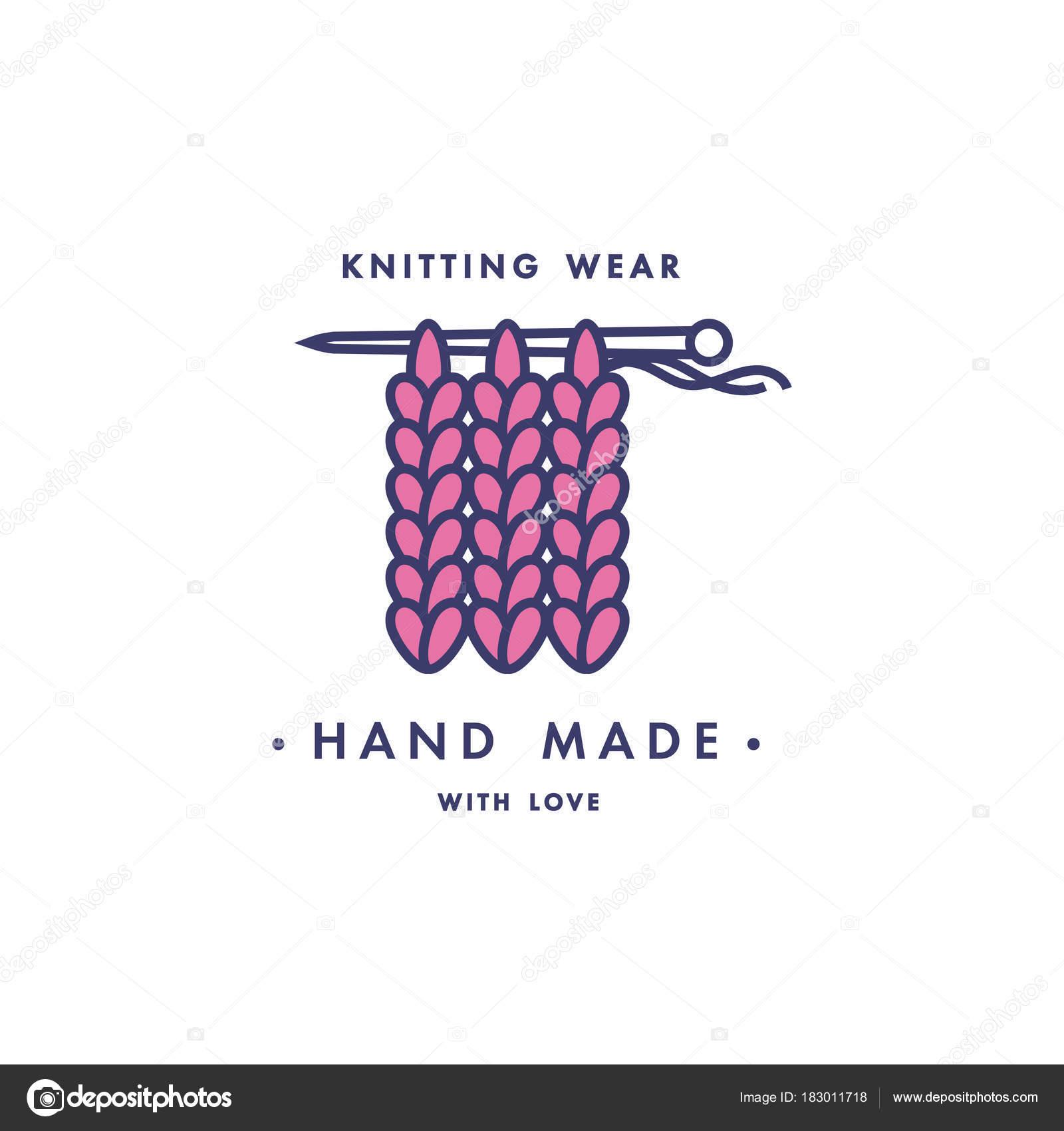 Pasadores de aguja de tejer y lana ovillo bolas icono. Vector ...