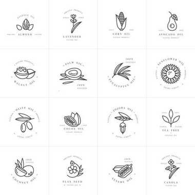 Vector set design templates and emblems - healthy and cosmetics oils. Different natural, organic oils.