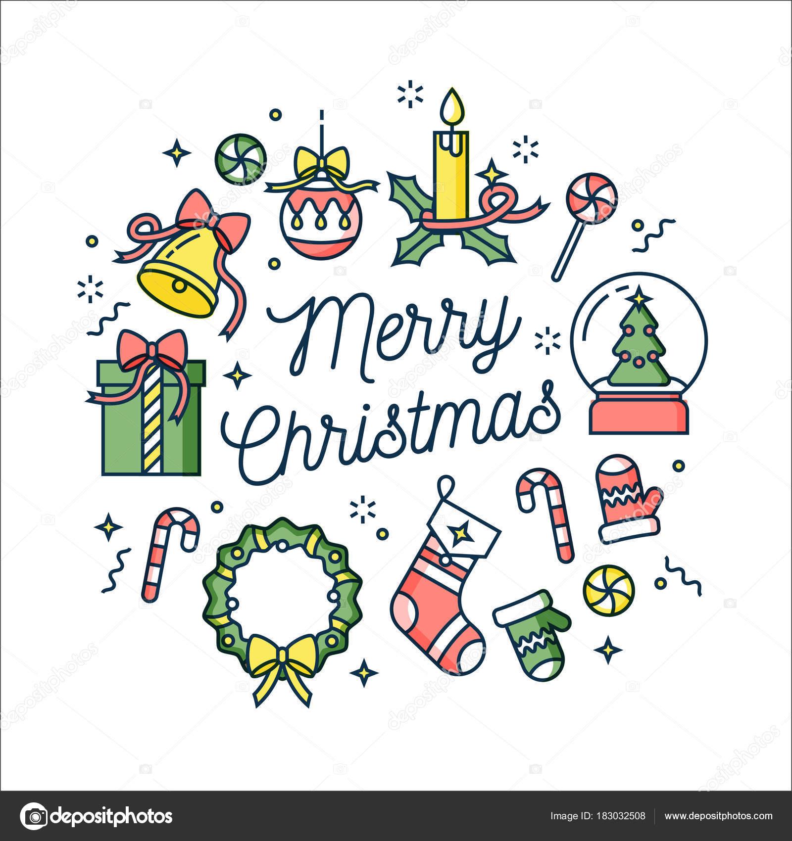 Wektor Kartki Pozdrowienia świąteczne Liniowe Wzornictwo Na