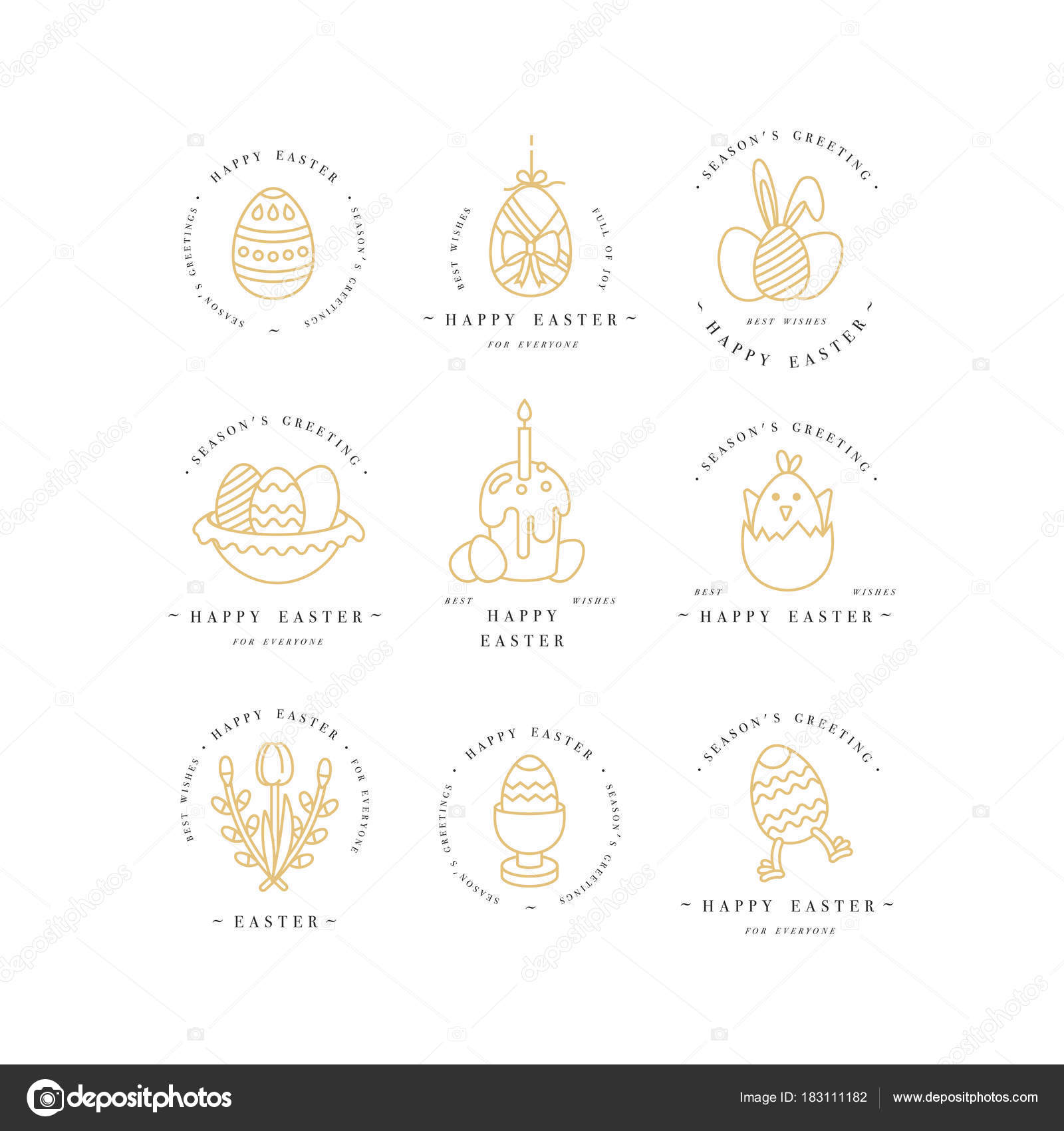 Vector linear design easter greetings elements on white background vector linear design easter greetings elements on white background typography ang icon for happy easter cards banners or posters and other printables m4hsunfo