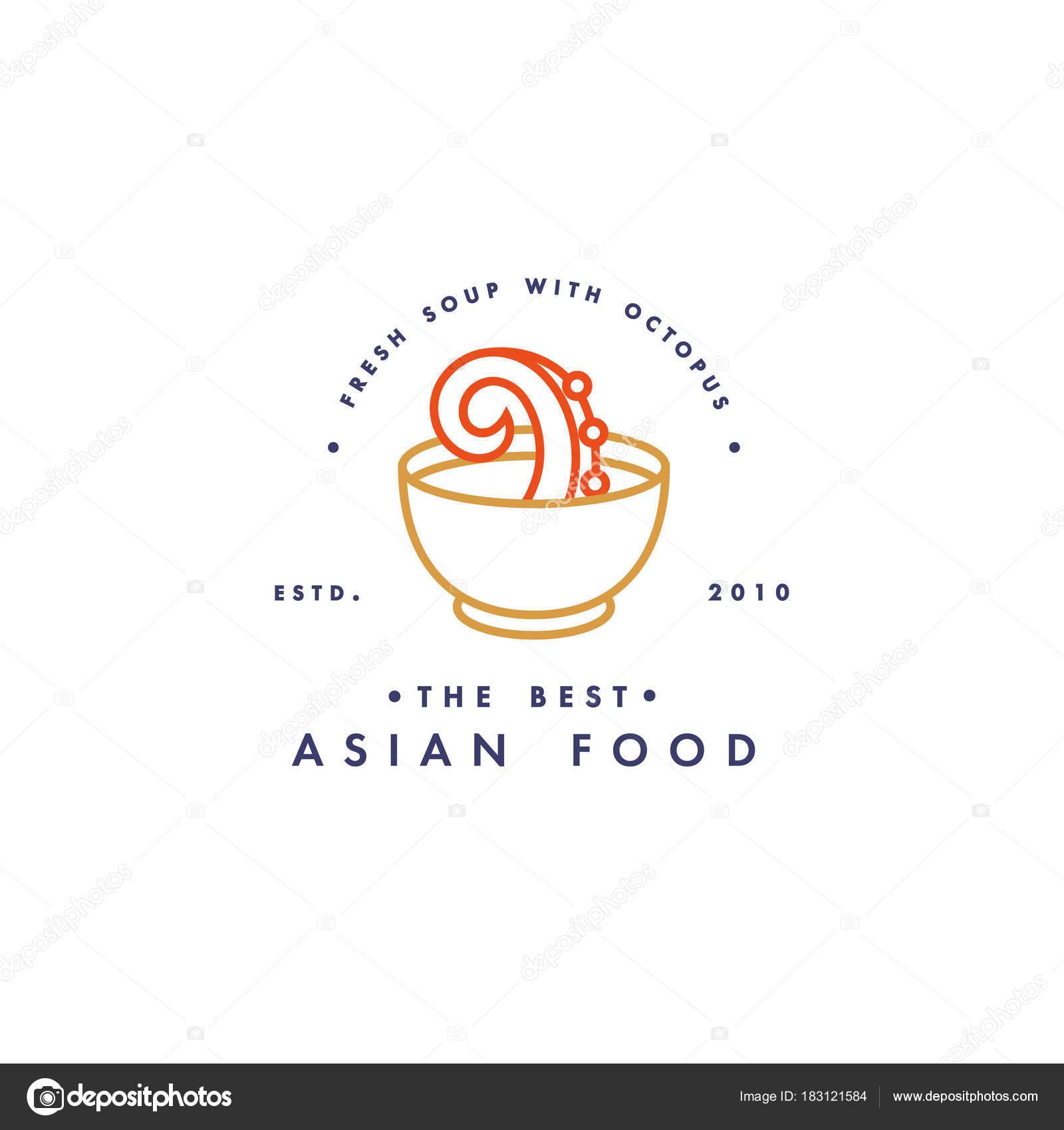 Vector logo design template and emblem or badge. Asian food - soup ...