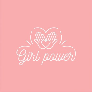 Vector illustration in simple style with hand-lettering phrase girl power - stylish print for poster or t-shirt - feminism quote and woman motivational slogan.
