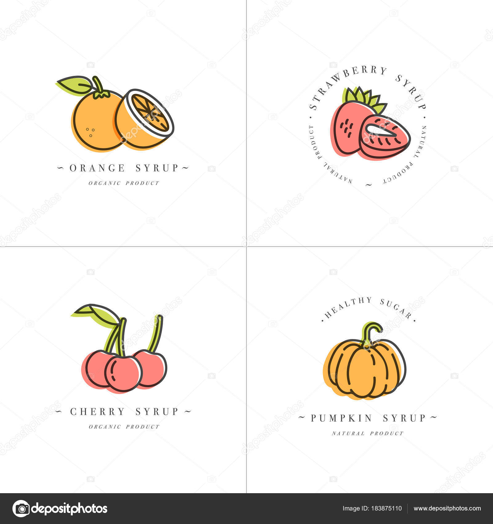 Vector set design colorful templates logo and emblems - syrups and ...