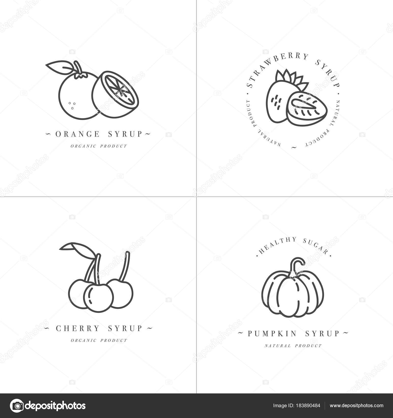 vector set design monochrome templates logo and emblems syrups and