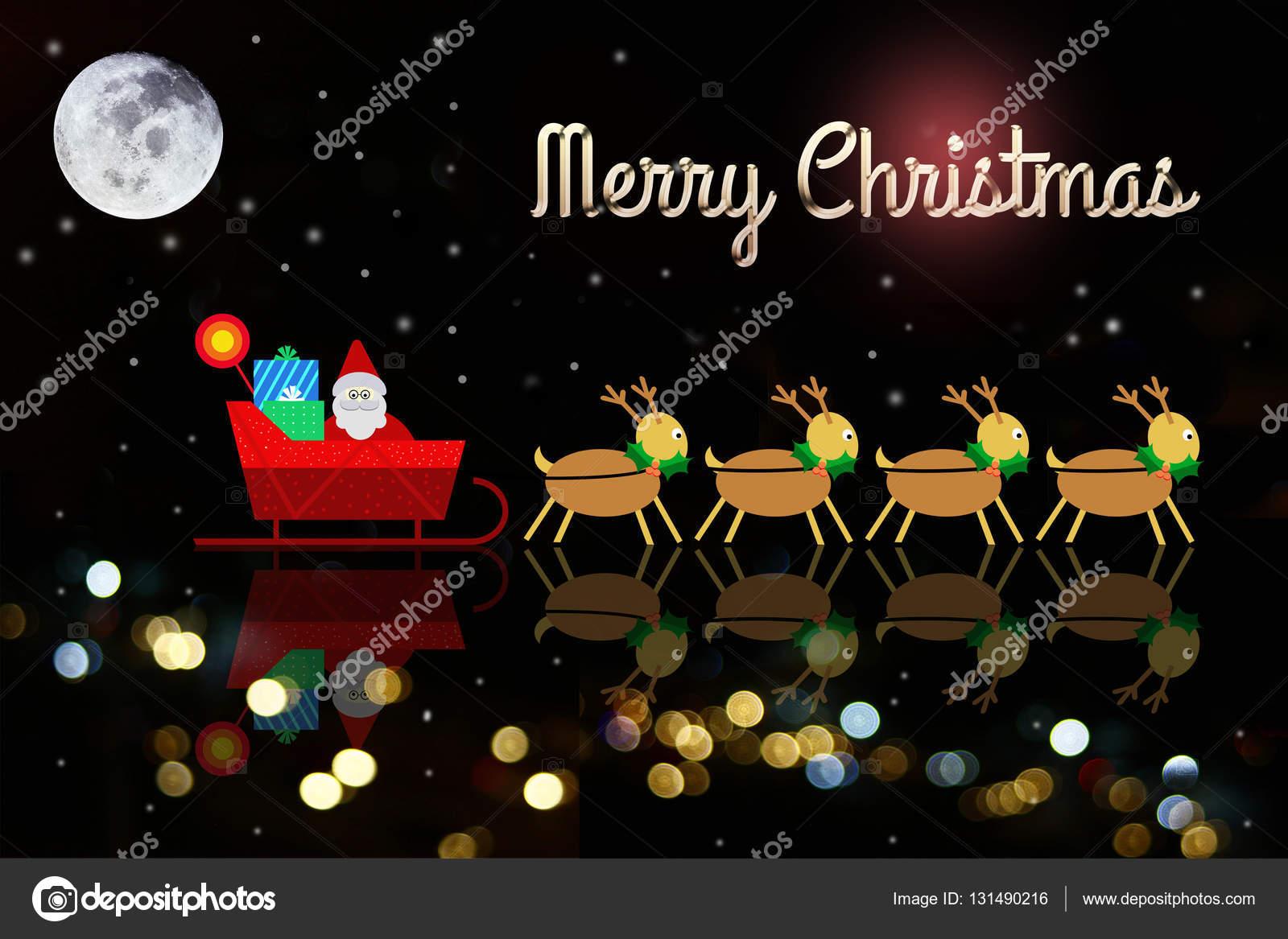 Sfondi Natalizi Renne.Sfondi Di Natale Sul Cloud Con Babbo Natale E Renna Foto Stock