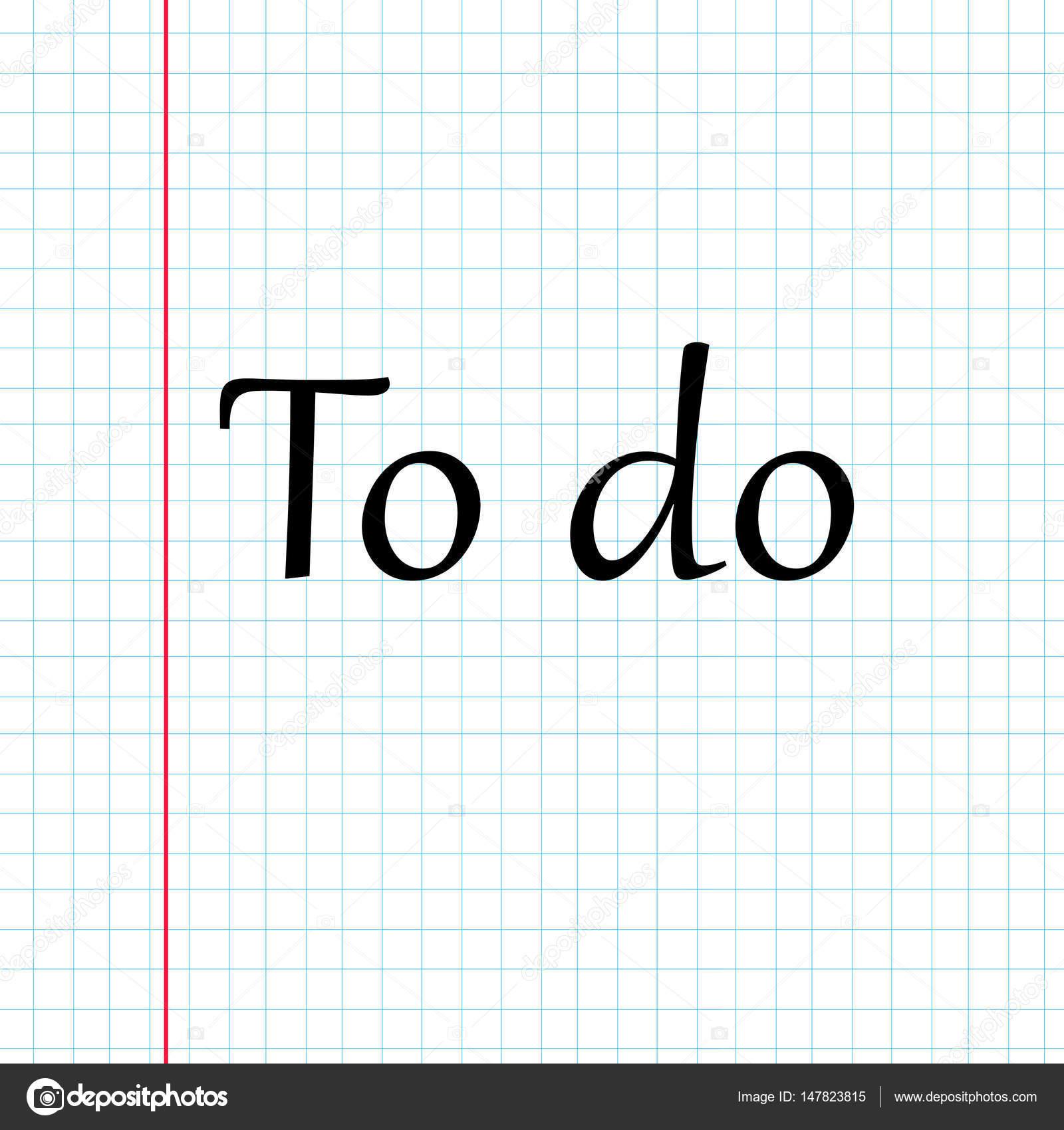 Hoja de cuaderno a cuadros con margen rojo y con el texto: no — Foto ...