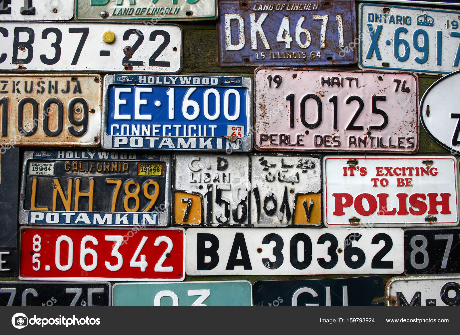 POLAND, OTREBUSY, 31 March 2017: many number plates of old cars ...