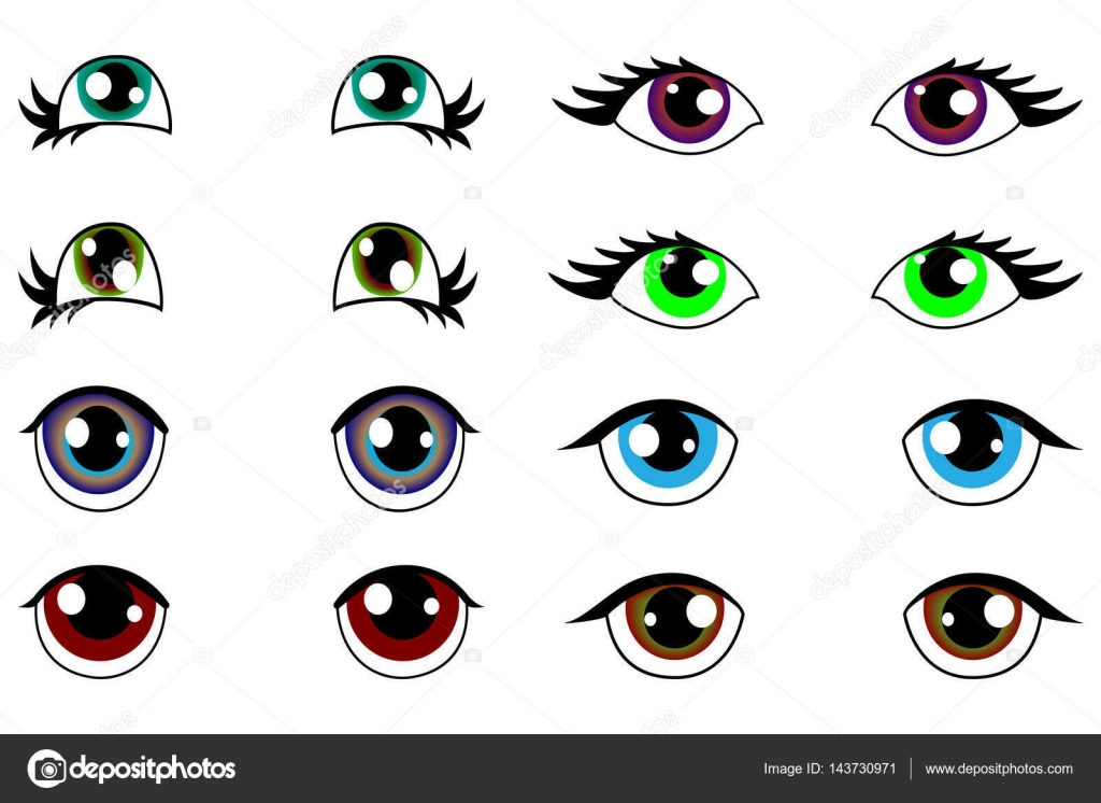Anime Kawaii Set Von Augen Mit Unterschiedlichen Emotionen Stockvektor
