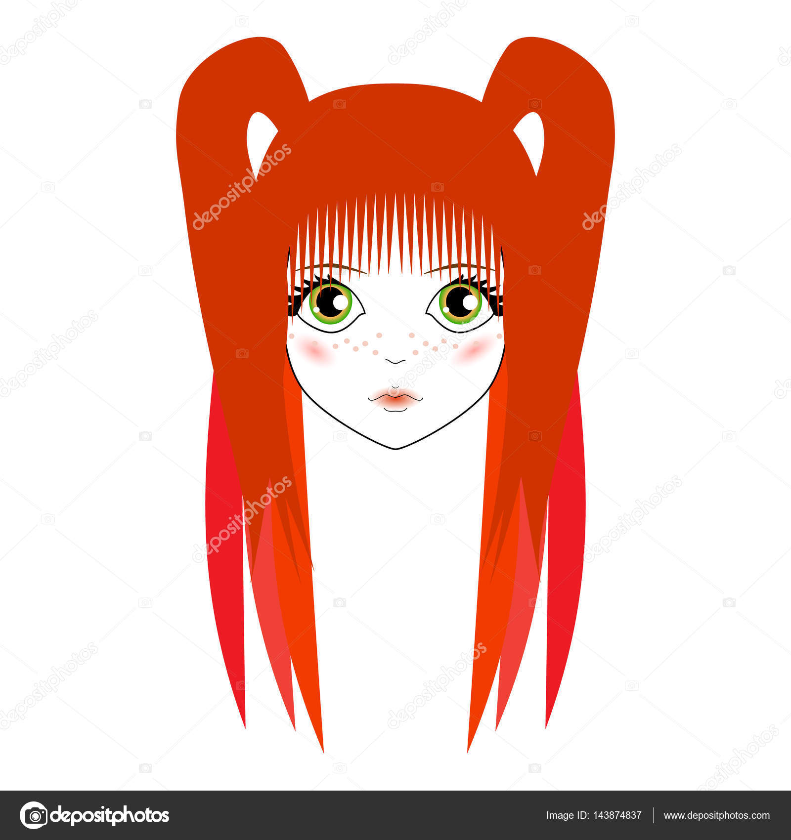 Kawaii Womens Sad Face With Big Green Eyes Anime And Red Hair W Stock Vector