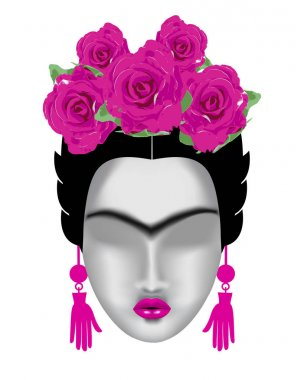 Interpretation of Frida Kahlo. Female face with a mono-eyebrow,
