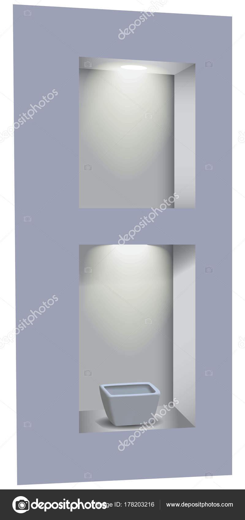Dwie Wnęki W ścianie Oświetlone Z Góry Przez Diody Led