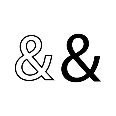 Pictogram ampersand icon. Black icon on white background.