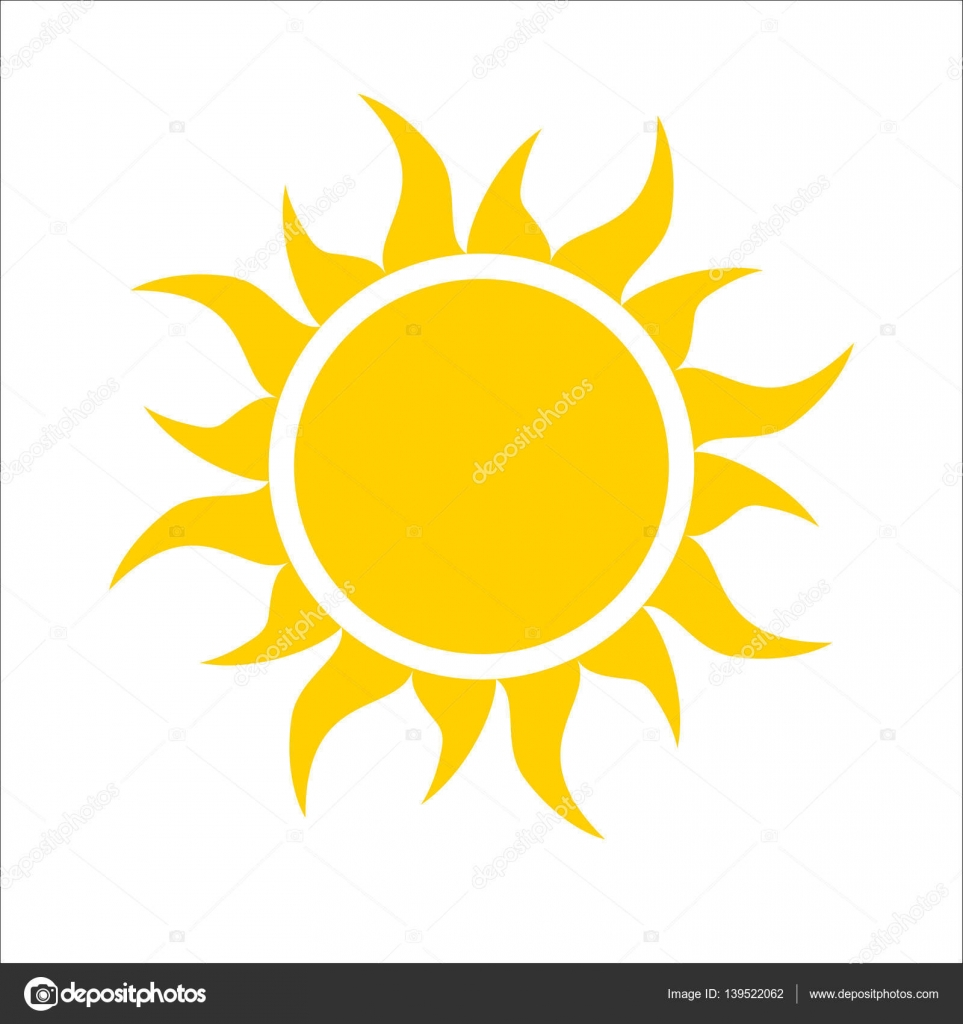 Yellow sun icon isolated on white background. Modern simple flat ...