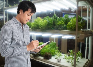 smart agriculture in futuristic concept, farmer use technology t
