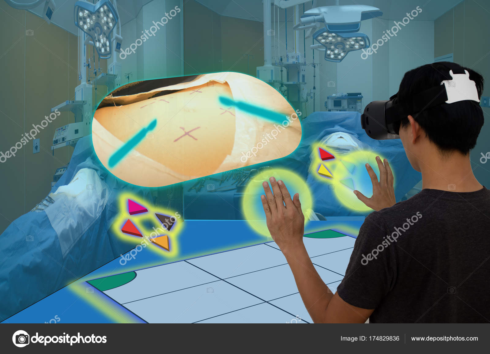Smart medical with augmented and virtual reality technology conc — Stock Photo